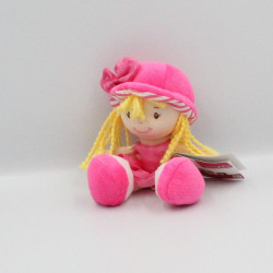 Doudou poupée blonde robe rose WDK PARTNER