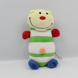 Doudou ours jaune blanc vert rouge bleu rayé CARREFOUR
