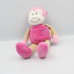 Doudou singe rose beige DOUKIDOU