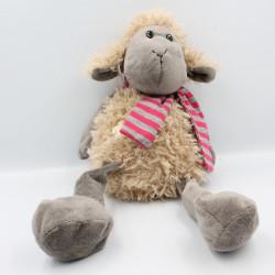 Doudou mouton beige gris foulard rayé rose fleur
