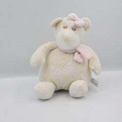 Doudou musical ours blanc écru rose ABC BABYONO