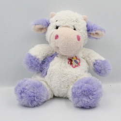 Doudou peluche vache blanche mauve fleur