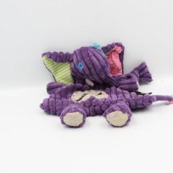 Doudou plat éléphant violet Sandykilos DEGLINGOS