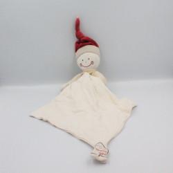 Doudou poupée lutin beige rouge blanc mouchoir BERLINGOT