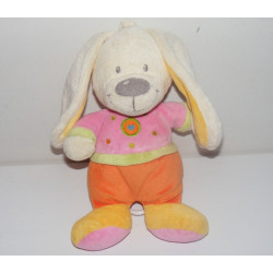 Doudou lapin rose orange coeur brodé NICOTOY