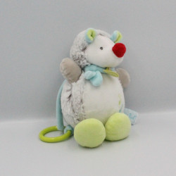 Doudou musical hérisson Gaston blanc beige bleu vert BABY NAT