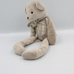 Doudou ours gris beige carreaux I2C KIABI BEBE