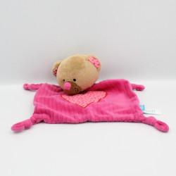 Doudou plat ours beige rose coeur LIEF