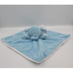 Doudou plat éléphant bleu blanc SAINSBURY'S
