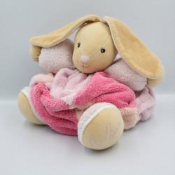 Doudou lapin plume rose framboise blanc KALOO
