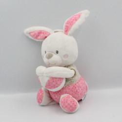 Doudou musical lapin blanc rose beige pois balle MOTS D'ENFANTS