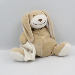 Doudou musical lapin beige blanc avec mouchoir OBAIBI