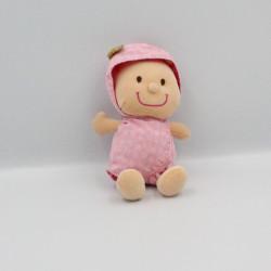 Doudou Poupée bébé Chloé pyjama rose fleurs LILLIPUTIENS