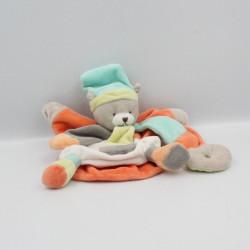 Doudou et compagnie marionnette ours bleu orange gris vert Collector