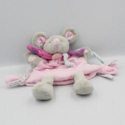 Doudou et compagnie marionnette souris gris rose violet bleu fleur Pearly