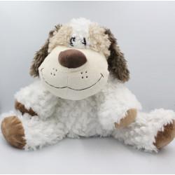 Grande Peluche chien blanc beige marron PARTNER JOUET