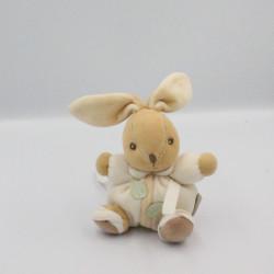 Mini Doudou lapin blanc beige feuille pure KALOO