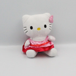 Doudou chat HELLO KITTY rose rouge coeurs SANRIO LICENSE