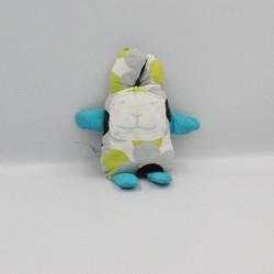 Doudou lapin blanc bleu vert gris LE MONDE DE CLOTHILDE