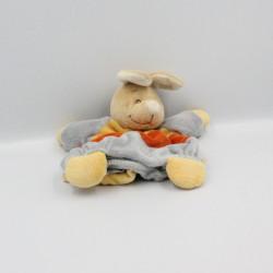 Doudou marionnette lapin Kangourou bleu orange jaune NOUKIE'S
