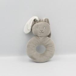 Doudou anneau hochet lapin gris CLARINS
