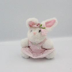 Doudou peluche lapin blanc rose rayé FIZZY