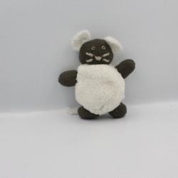 Doudou souris marron blanc laine