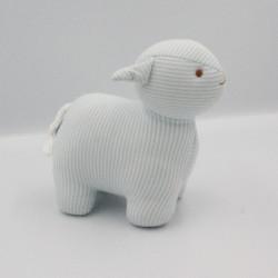Doudou agneau mouton bleu blanc rayé TROUSSELIER