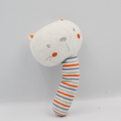 Doudou baton chat blanc rayé orange bleu gris