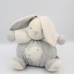 Doudou lapin gris blanc rayé poisson KALOO