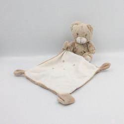 Doudou ours marron beige blanc mouchoir mon doudou TEX