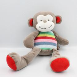 Doudou singe gris bleu vert jaune rouge rayé laine NICOTOY