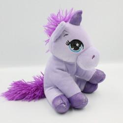 Peluche licorne mauve violet pailletée TOYWORLD