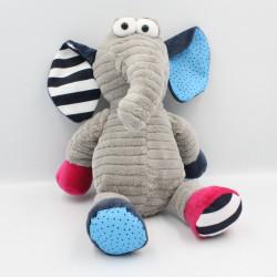 Doudou éléphant gris rose bleu rayé pois