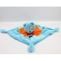 Doudou plat chat bleu orange vert rouge pois NICOTOY