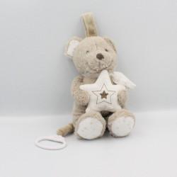 Doudou musical ours beige blanc étoiles POMMETTE
