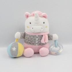Doudou licorne blanc rose gris jaune balle hochet MOTS D'ENFANTS