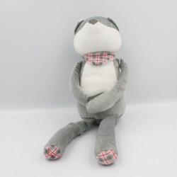 Doudou renard gris blanc foulard OBAIBI