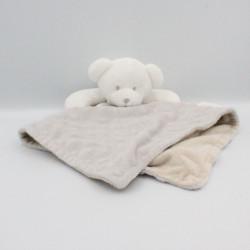 Doudou plat ours blanc gris beige KING BEAR