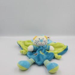 Doudou plat chat bleu vert escargot NICOTOY KIAB
