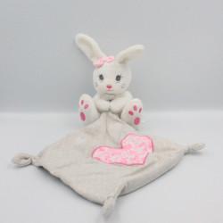Doudou lapin blanc rose gris mouchoir coeur SIMBA TOYS KIABI