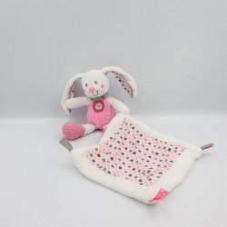 Doudou plat lapin blanc rose gris pois mouchoir NICOTOY