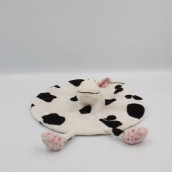 Doudou plat rond vache blanche noir fleurs AUBERT