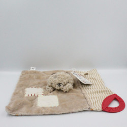Doudou plat ours beige rouge rayé Mr Hedgehog Mothercare