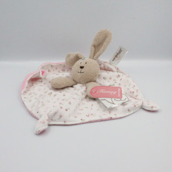Doudou plat lapin blanc rose beige Fanny TEDDYKOMPANIET