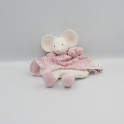 Doudou plat souris blanche rose fleurs MEIYA & ALVIN