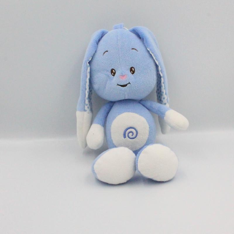 Doudou musical lapin bleu blanc coeurs AUCHAN BABY