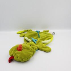 Doudou plat dragon vert bleu Walter LILLIPUTIENS