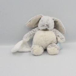 Doudou Lapin gris beige blanc Les Flocons mouchoir Baby nat