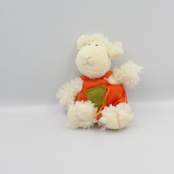 Doudou mouton blanc salopette orange GIPSY